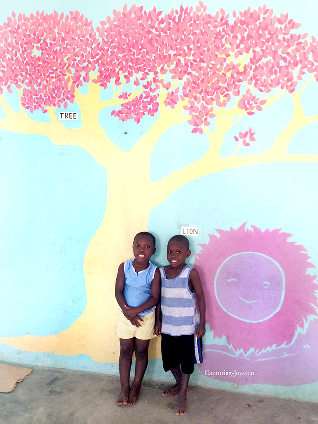 Mural painting on wall of Ghana Make a Difference Childrens Home