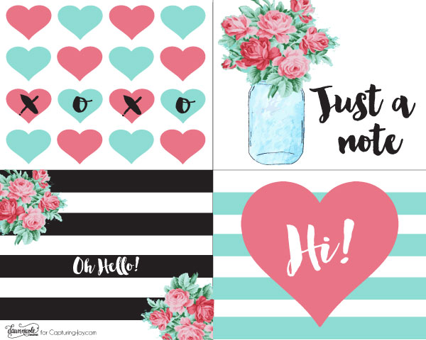 Free Printable Retro Notecards | Grab these free printable notecards in four fun designs! Dawn Nicole Designs for Capturing-Joy.com