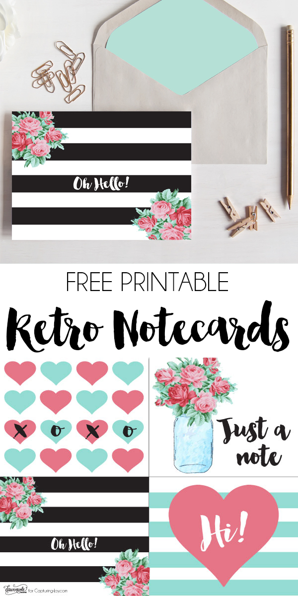 graphic relating to Printable Notecard named No cost Printable Retro Notecards - Shooting Contentment with Kristen Duke