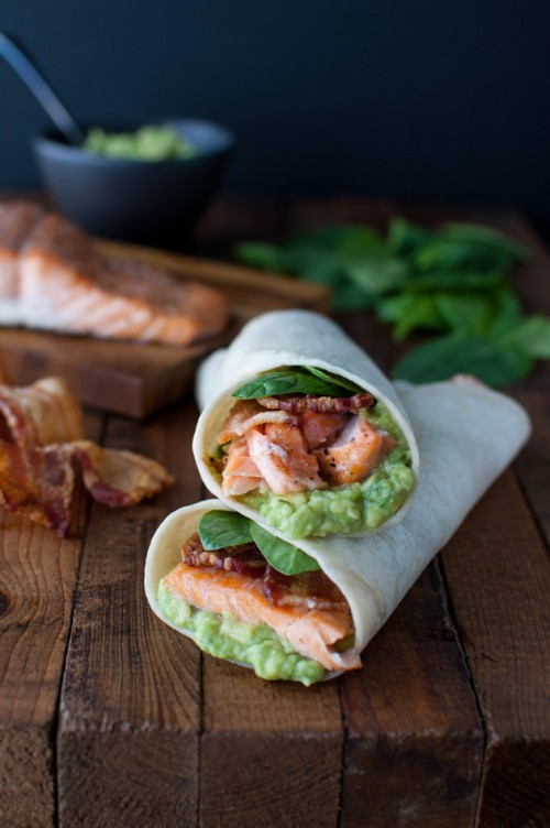 Salmon Guacamole Bacon Wrap