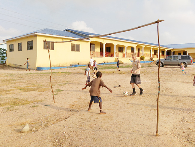 Wood sitck soccer goals in Ghana