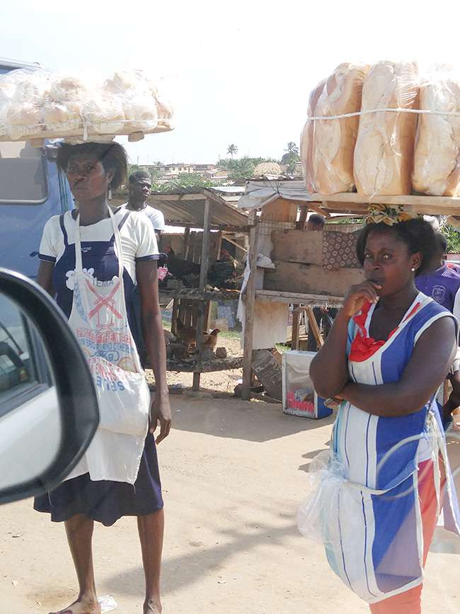 selling bread in Ghana Africa