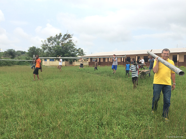 Building a soccer goal in Ghana