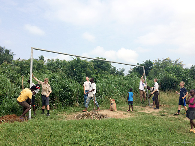 Building futbol (soccer) goals in Ghana school