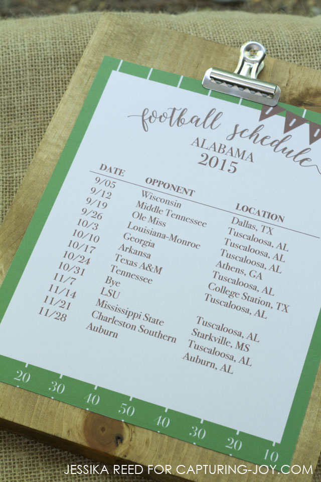 football schedule template