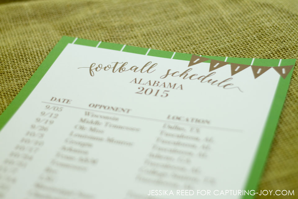 Editable Football Schedule Template