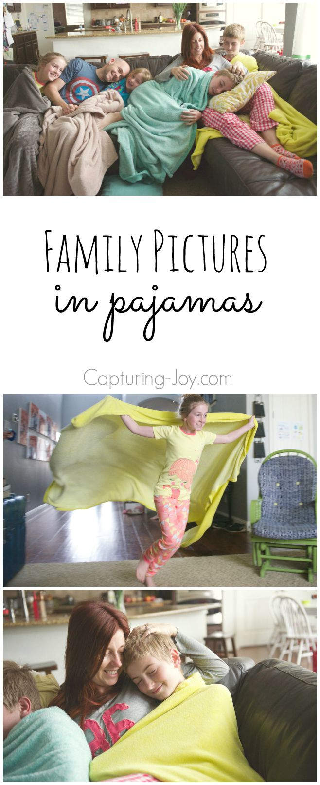 Family Pictures in Pajamas at home