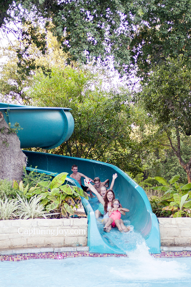 Hyatt Wild Oak Ranch in San Antonio adventures, family train on water slide