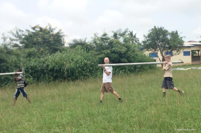 assemblig soccer goals in Ghana