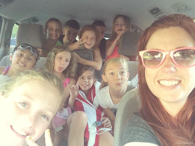crammed in the mini van at pool