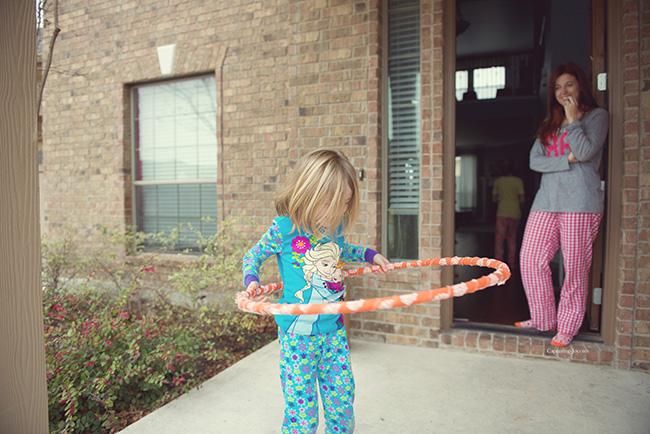 hoola hoop in pajamas