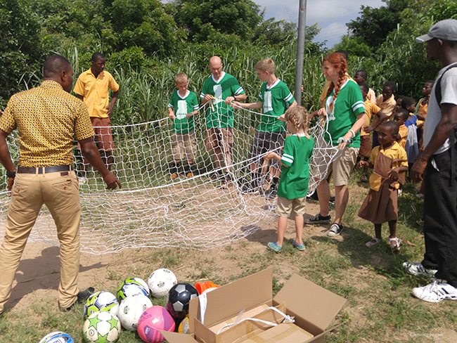 prepping the soccer net for goal in Ghana