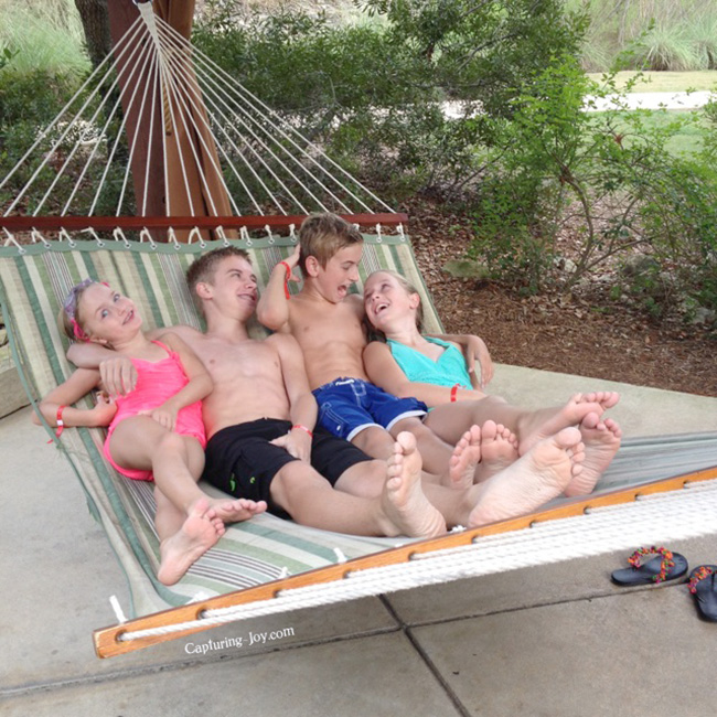 swinging in hammock