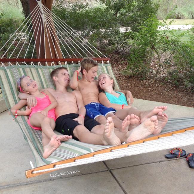swinging in hammock