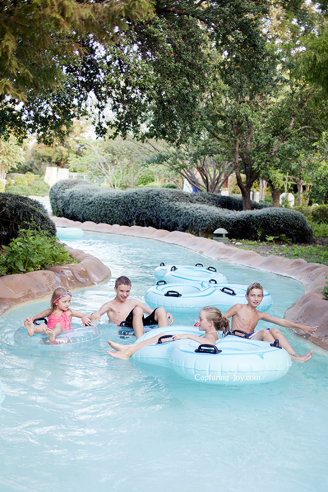 tubing down the lazy river