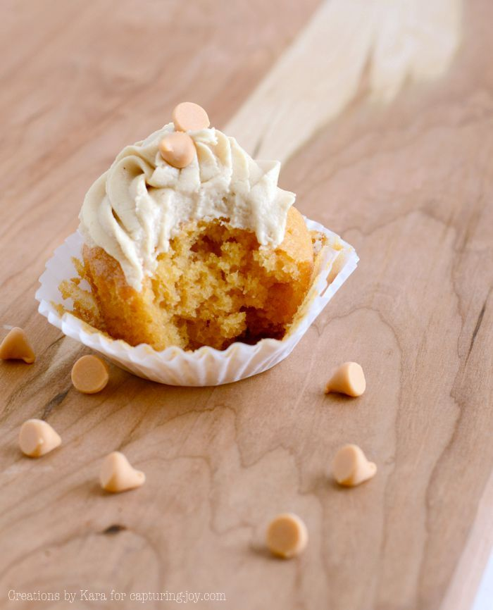 Homemade butterscotch cupcakes with butterscotch frosting