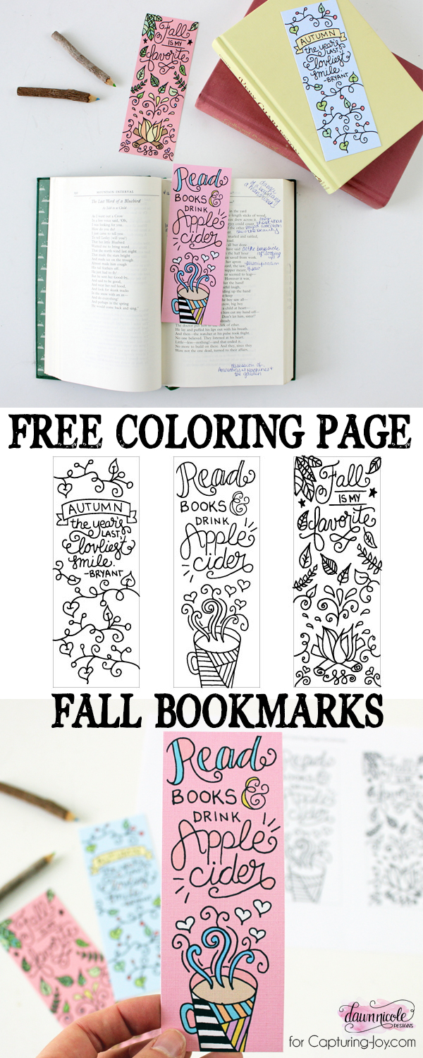 Free Fall Bookmarks Coloring Page | capturing-joy.com