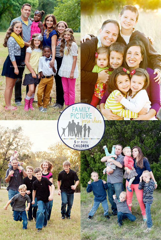 Family Posing Ideas for 5 or more kids