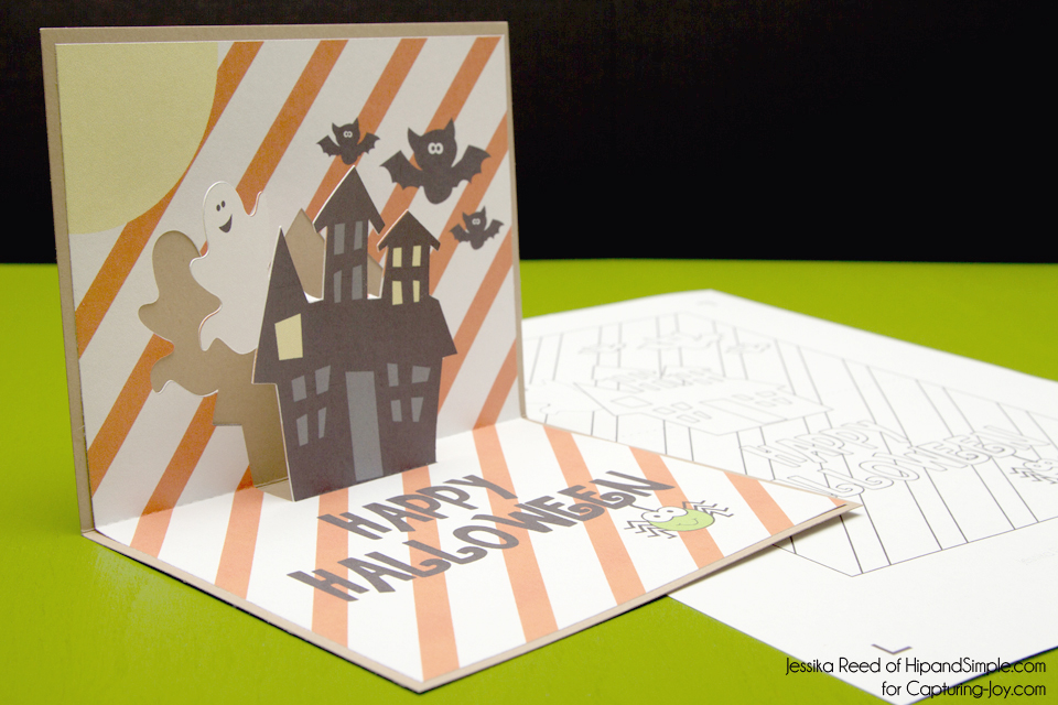 graphic regarding Printable Pop Up Cards identified as Printable Halloween Card - No cost Pop Up Halloween Card