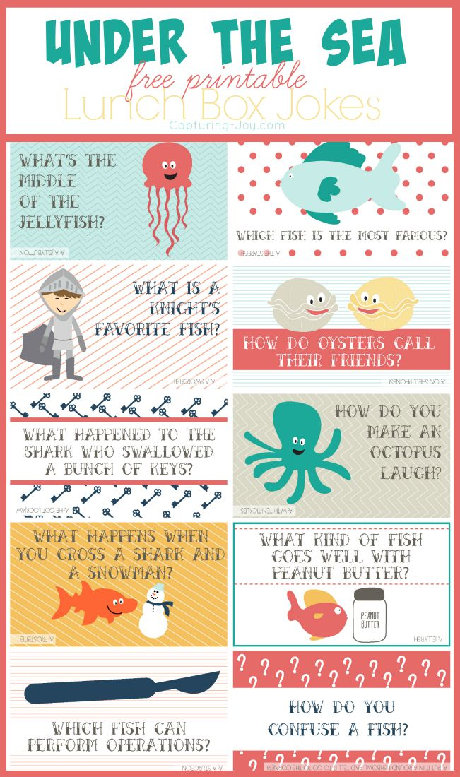 graphic about Lunch Box Jokes Printable named Below the Sea Small children Lunch Jokes - Shooting Pleasure with Kristen Duke
