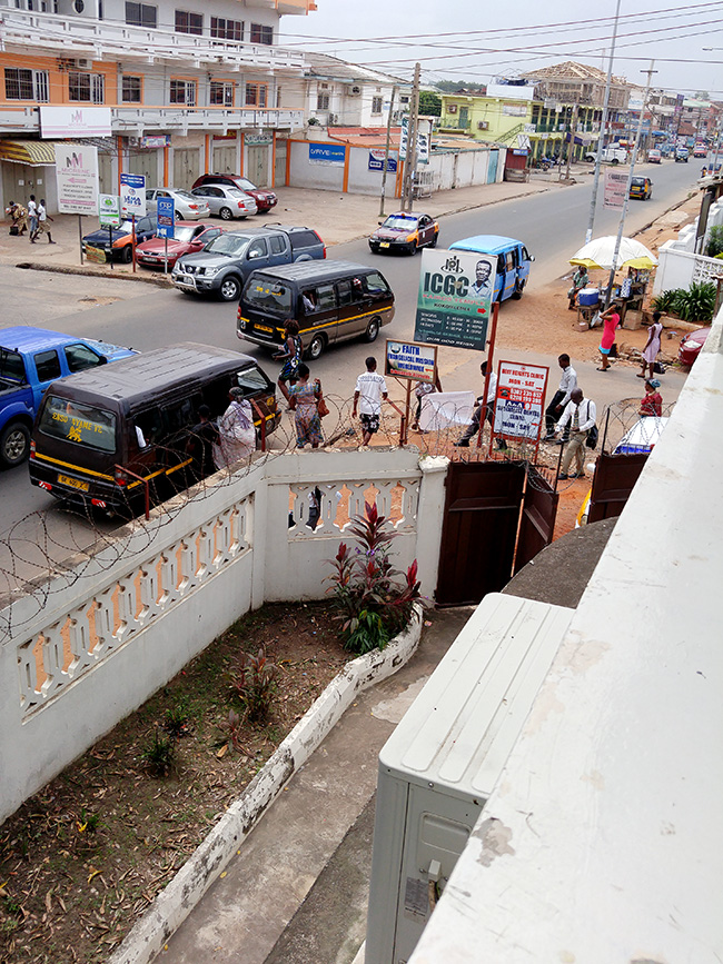busy street corner in Ghana