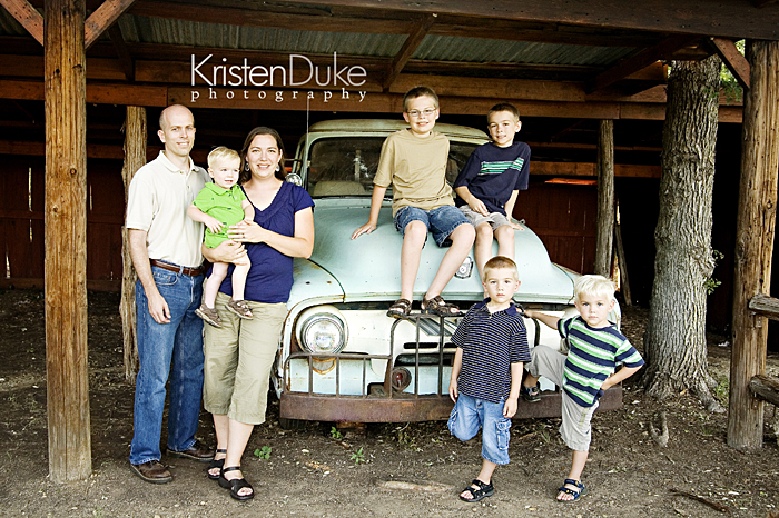 family pictures on an old truck