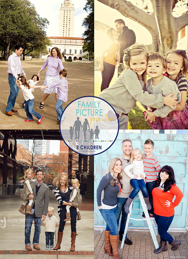 family picture pose ideas with 3 kids