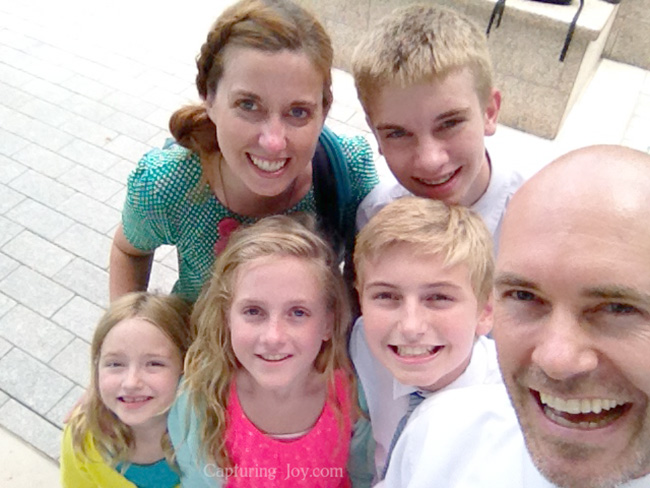 family selfie at the temple