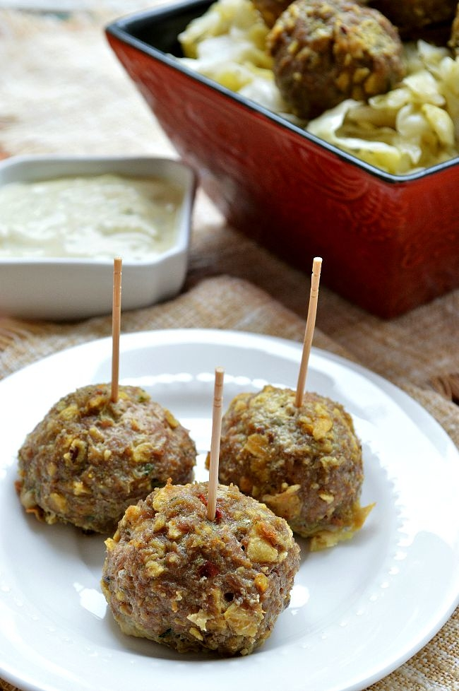 These Gluten Free Curry Turkey Meatballs with Cucumber Yogurt Sauce can be made ahead of time and baked for those busy weeknight dinners. You can also make these meatballs as a satisfying appetizer for any dinner party.