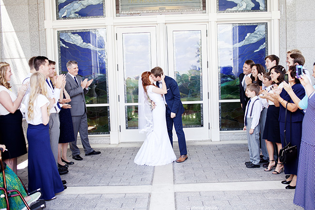 wedding kiss at the temple