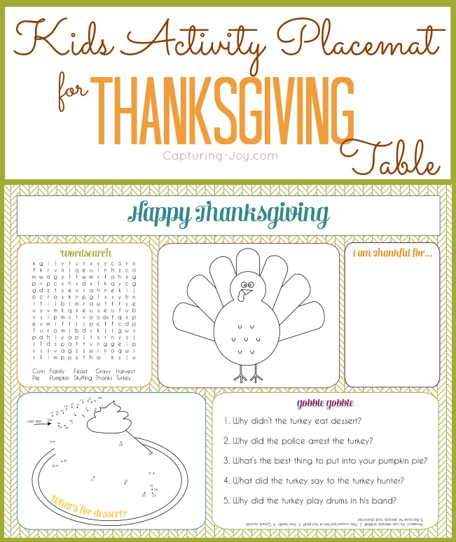 kids thanksgiving activity placemat free printable - Kids Activities Print