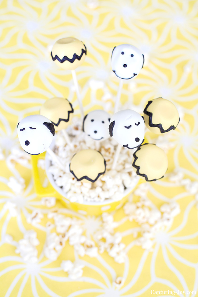 charlie brown and snoopy cake pop treats
