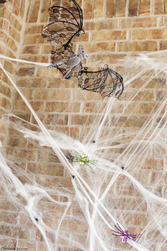 Halloween decor with bat and spider