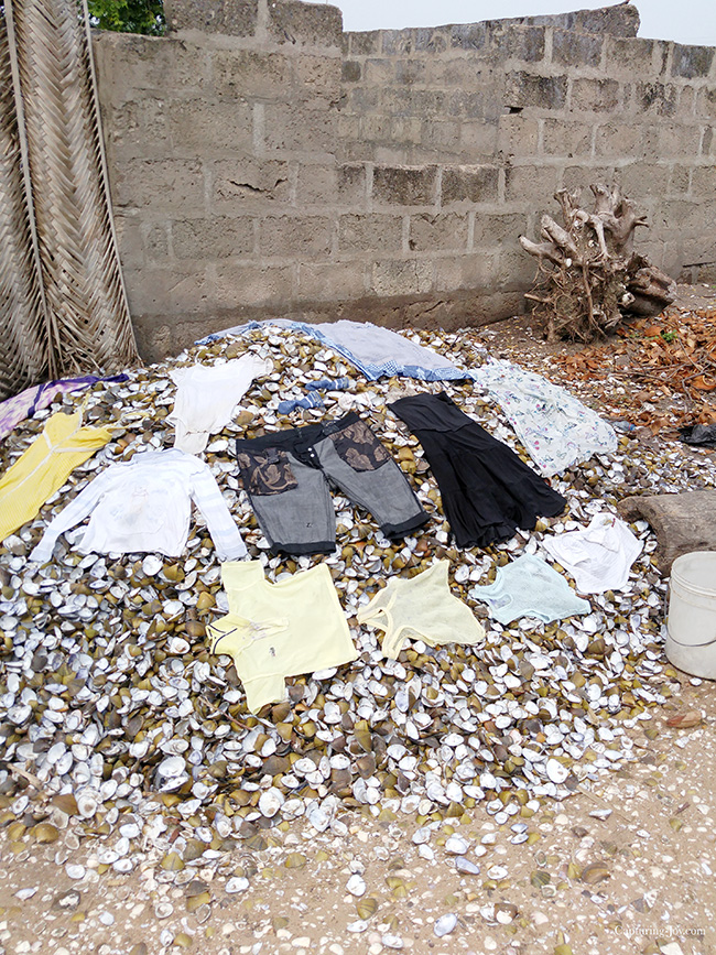 drying clothes on oyster shells in Ghana village