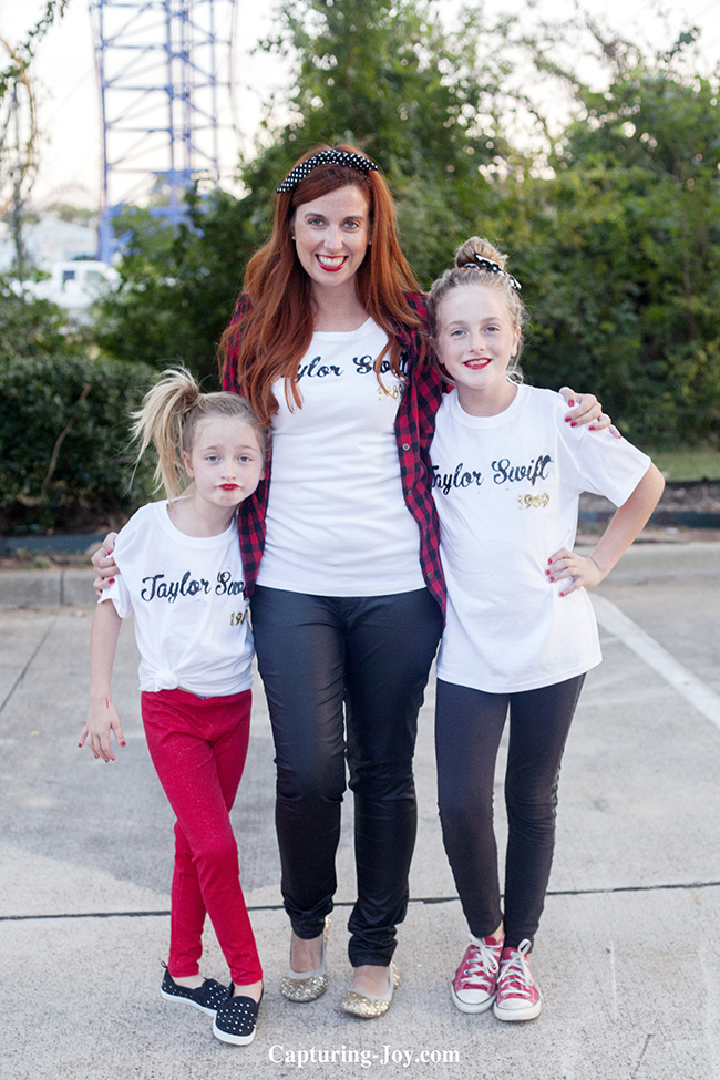 mom and daughters made shirts for Taylor Swift Concert