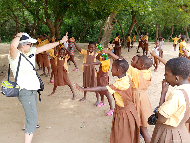 playing with Ghana school children near Empower Playground