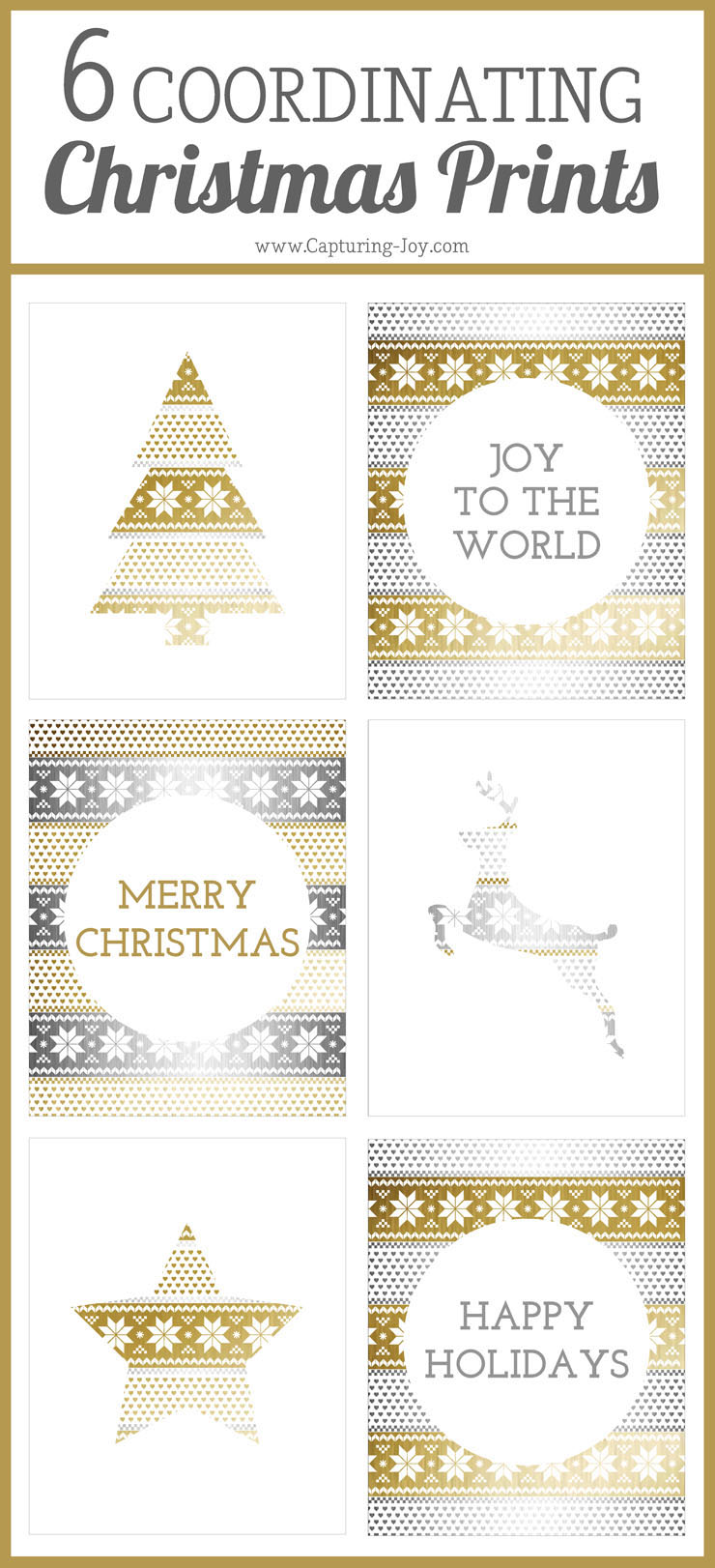 6 prints coordinating Christmas prints in gold and silver