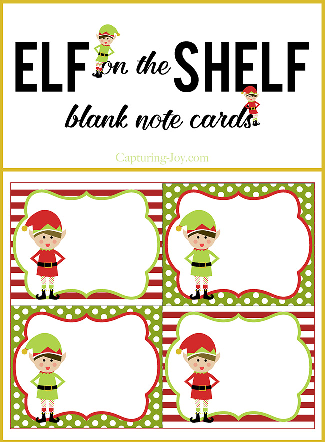 Elf on a Shelf blank note cards for Christmas. Free printable.