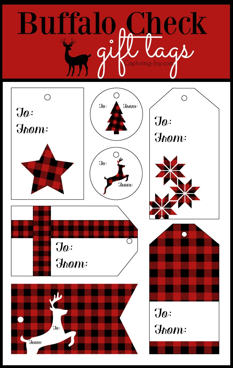 Buffalo Check Gift tags for Christmas presents