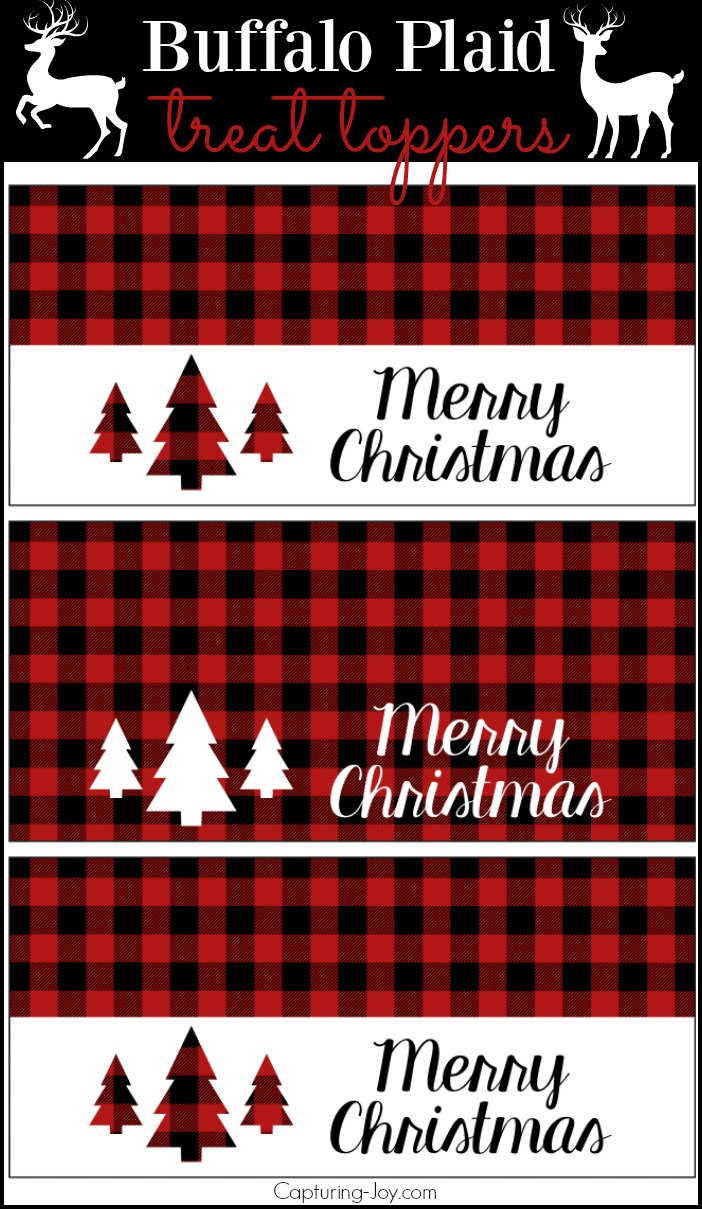 Buffalo Plaid Treat Toppers, perfect to staple onto the top of a ziplock back of goodies for Christmas holidays