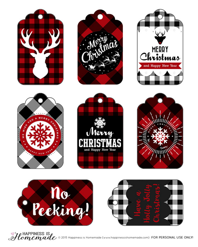 Buffalo check plaid gift tags