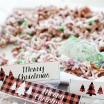 Christmas Crunch holiday treat recipe with free printable gift topper