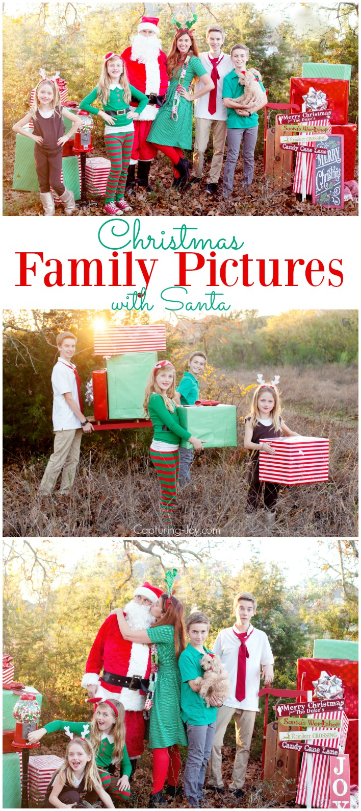 Christmas Family Pictures with Santa and his helpers