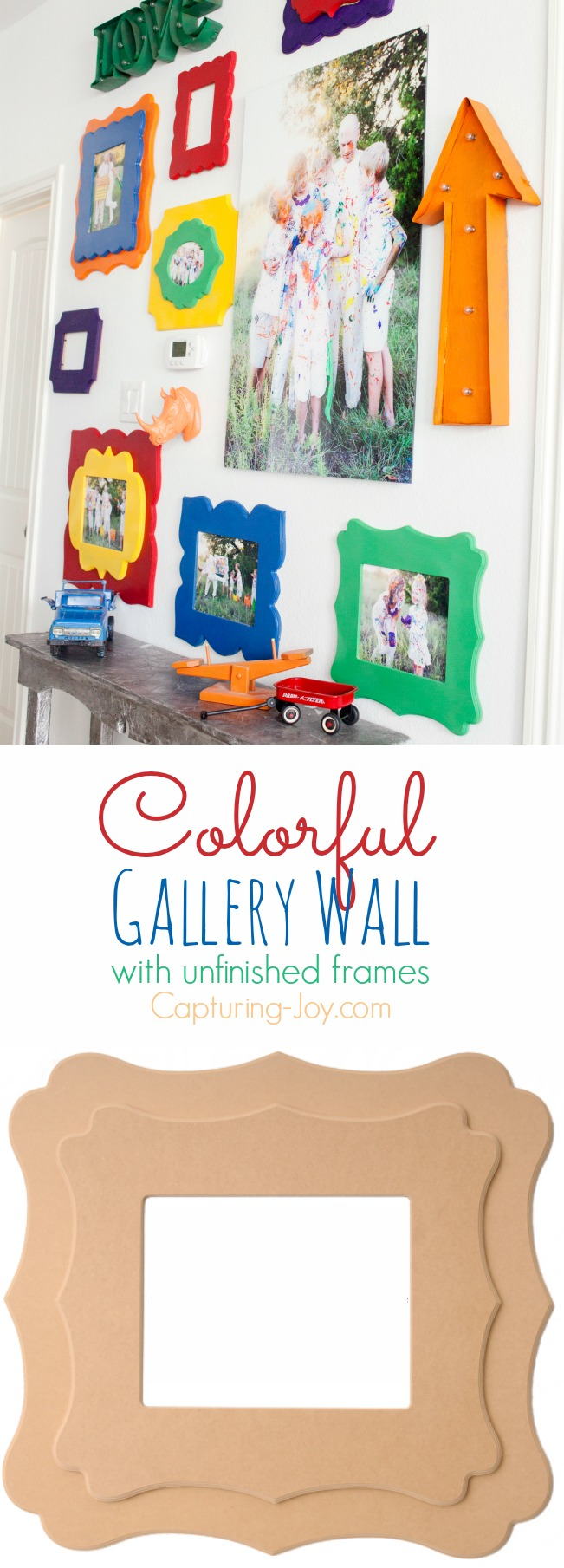 Colorful-Gallery-Wall-with-Unfinished-Frames
