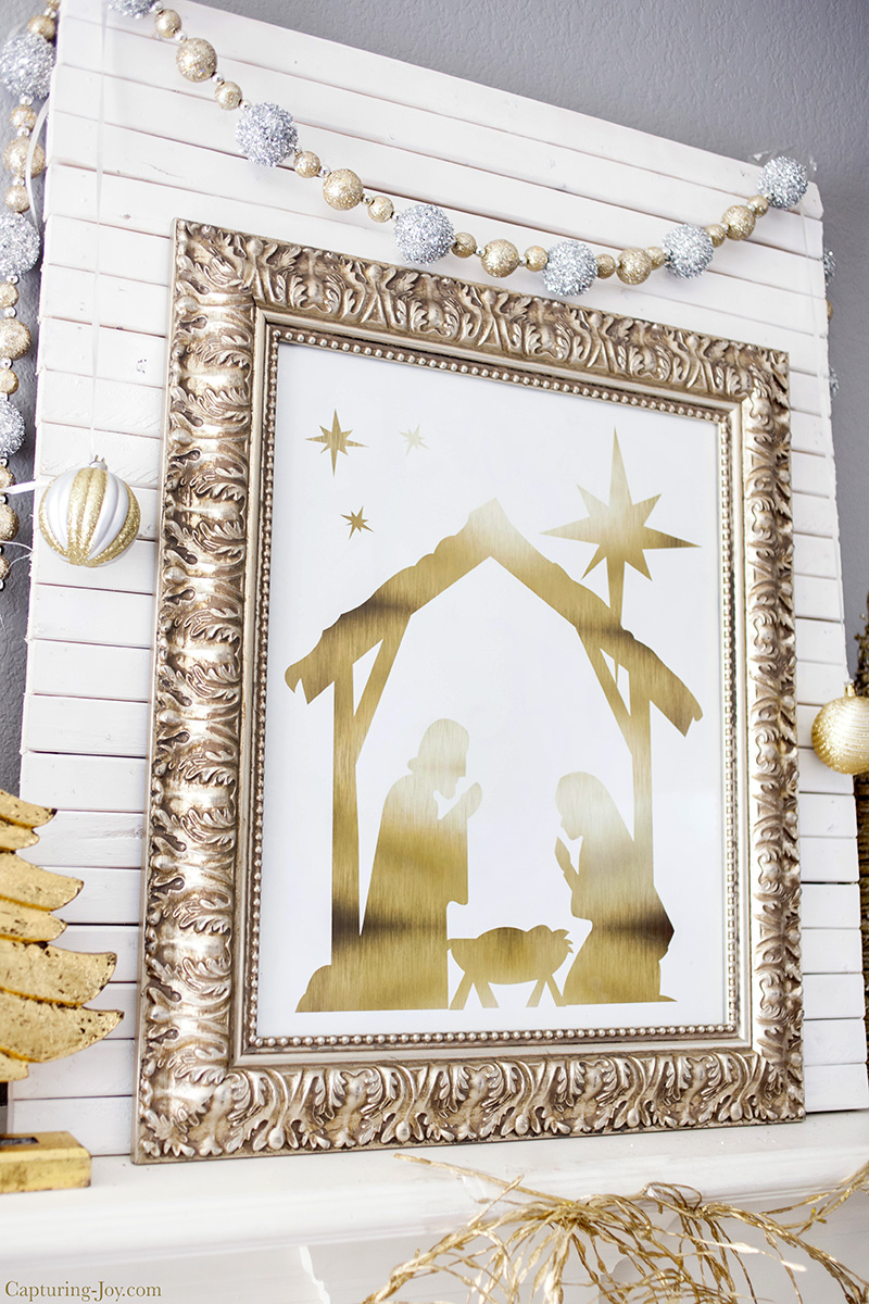 Gold Foil Nativity Print