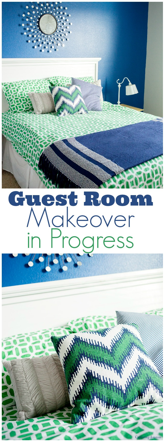 Guest-Room-Makeover-in-Progress-with-Sherwin-Williams-Navy-and-Pottery-Barn-bedding