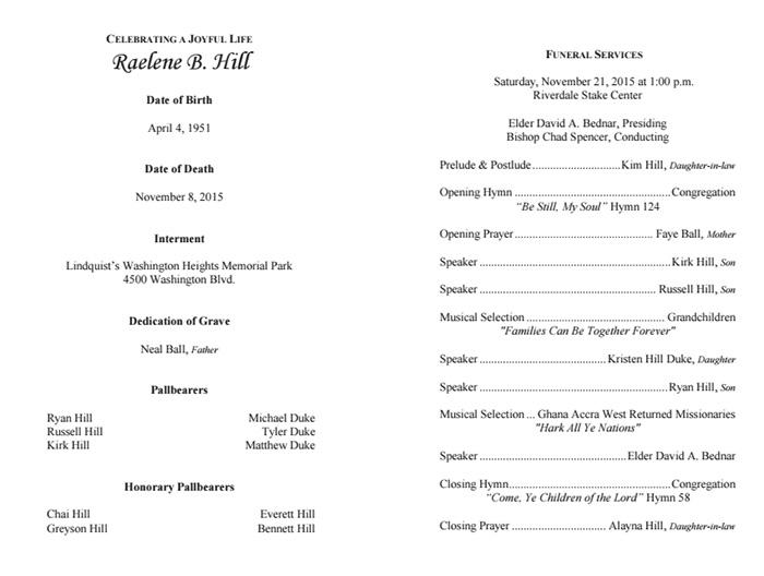 Inside funeral program outline