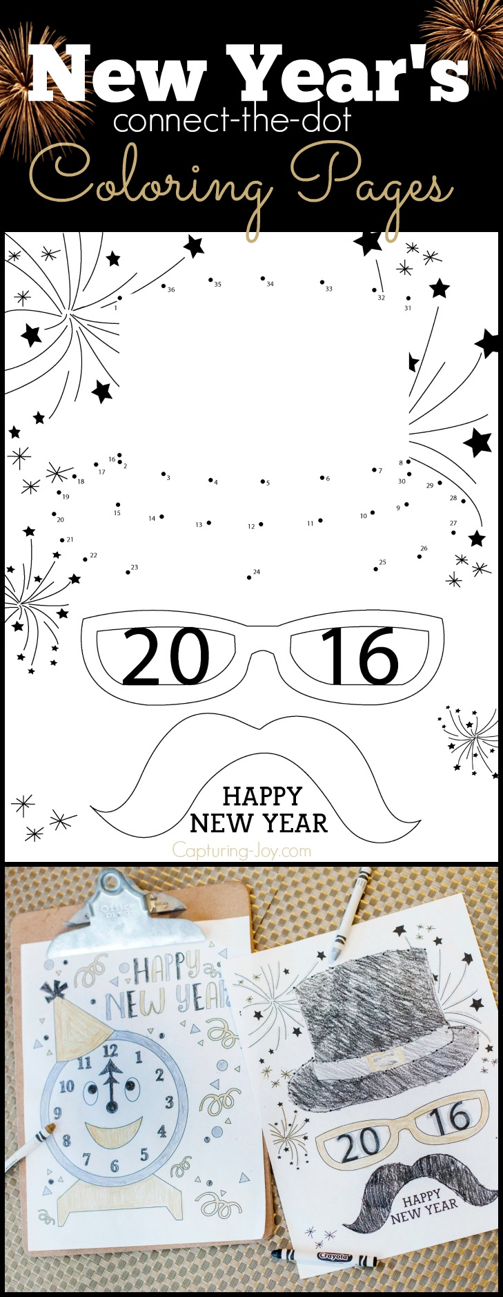 New Years Connect the Dot coloring pages