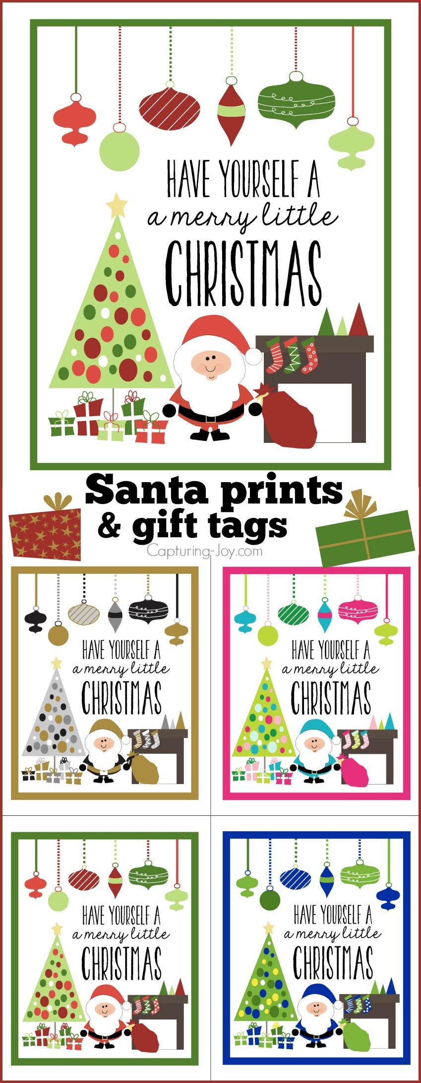 Santa 8x10 print and gift tags for Christmas