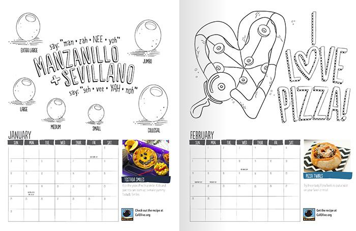 black olive coloring page calendar